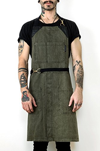 no-tie-apron-moss-green-twill-black-leather-towel-loop-and-split-leg