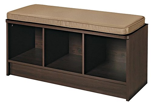 Entryway Storage Bench Hallway Organizer Laundry Room & Mudroom Espresso Wood Furniture Seat With Tan Cushion by Constance