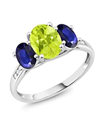 10K White Gold Diamond Accent Oval Yellow Lemon Quartz Blue Sapphire 3-Stone Ring 2.00 Ct, Available in size (5,6,7,8,9)