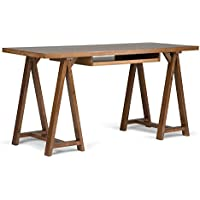 Simpli Home Sawhorse Solid Wood Office Desk, Medium Saddle Brown