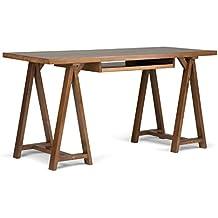 Simpli Home Sawhorse Solid Wood Office Desk, Medium Saddle Brown