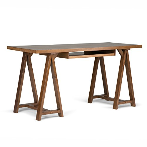 Simpli Home 3AXCSAW-07 Sawhorse Solid Wood Modern Industrial 60 inch Wide Writing Office Desk in Medium Saddle Brown