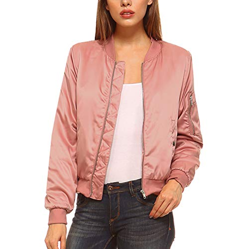 Fashionazzle Women's Solid Classic Zip Up Quilted Short Bomber Jacket Padded Coat (Large, BMJ05-Mauve) ()