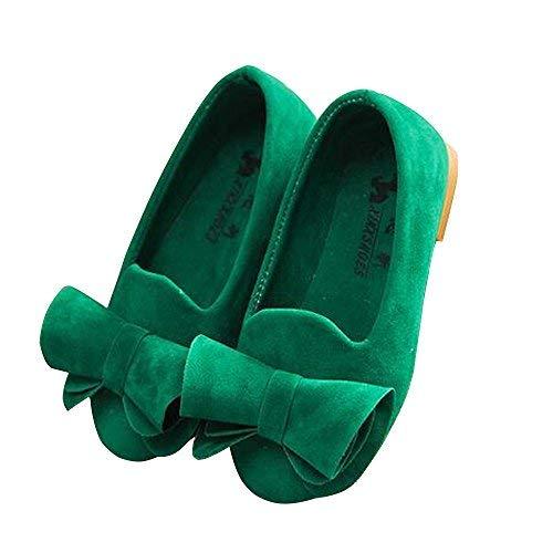 XinYiQu Girls Bowknot Girls Dress Shoes Princess Flat Girl Shoes Party (8.5 M US Toddler,Green)