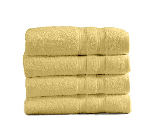 4-Pack Premium 100% Cotton Bath Towel Set (28 x 52 inch) Multipack for Home Spa Pool Gym Use. Quick-Drying and Extra Absorbent. Emelia Collection. (Yellow)
