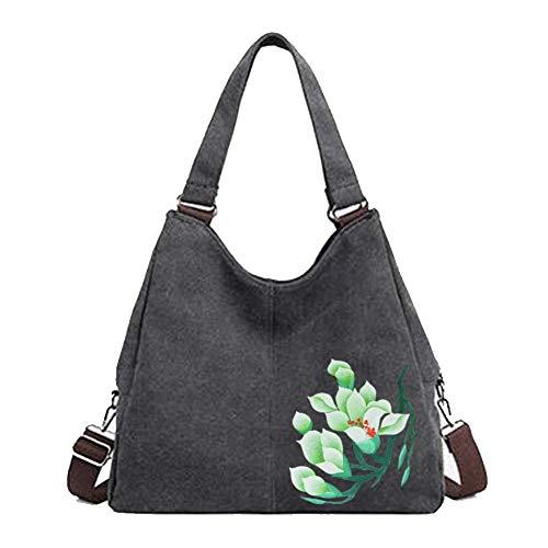 Eshow Women Canvas Hobo Handbags and Purse Shoulder Bag Cross-Body Bag Messenger Bag mom bag for women (Black4)