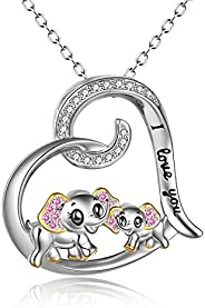 Elephant Necklace Sterling Silver Gold Plated Mother and Daughter Engraved Love Heart Dumbo Elephant Pendant N