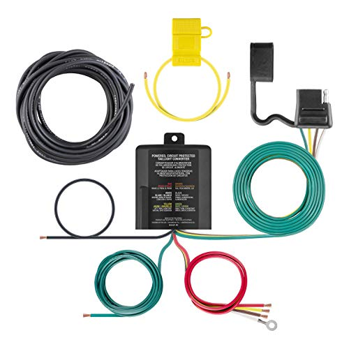 CURT 59496 Weather-Resistant Powered 3-to-2-Wire Splice-in Trailer Tail Light Converter Kit with 4-Pin Wiring Harness ()