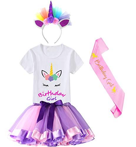HBeatific Little Girls Layered Tulle Rainbow Tutu Skirt with Unicorn T-Shirt,Headband and Birthday Sash (Birthday-Light Purple, XL,5-6 T) ()