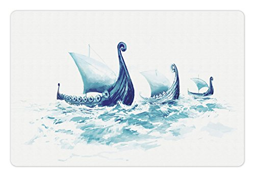 Military Pet Mats for Food and Water by Ambesonne, Portrait of Viking Drakkars in Rough Nordic Sea Wood Ships of Scandinavian Ancient Art, Rectangle Non-Slip Rubber Mat for Dogs and Cats, Blue