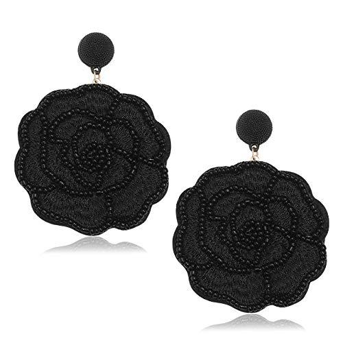HEIDKRUEGER Statement Flower Drop Earrings Bohemian Handmade Beaded Floral Dangle Earring Oversized Lightweight Crochet Petal Stud Earring for Women (Black) ()