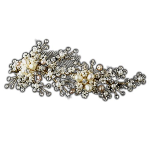 Elegance Collection - Hand Wired Freshwater Pearl and Crystal Bridal Wedding Hair Comb by Elegance by Carbonneau