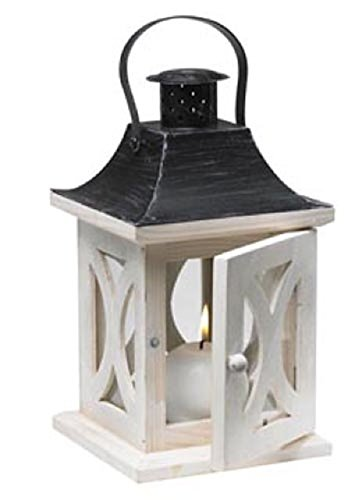 Biedermann & Sons Wood Lantern Candle Holder, Antique White (White Wooden Lanterns Decorative)