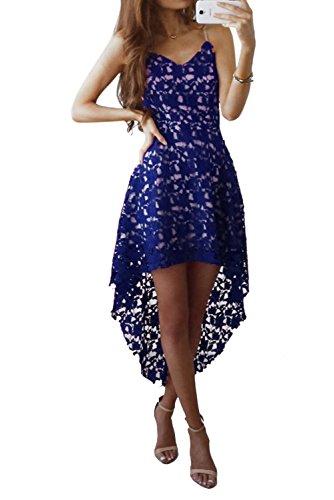 Besswedding Dentelle Sexy Féminin Haut Bas Robe Midi Clubwear Partie Sans Manches Bleu