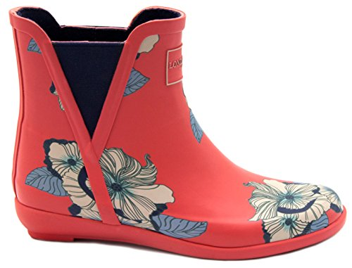 London Fog Womens Piccadilly Rain Boot Red-petals