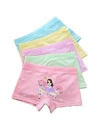 Cczmfeas Girls' Boyshort Hipster Panty Brief Cotton Underwear (Pack of 5)