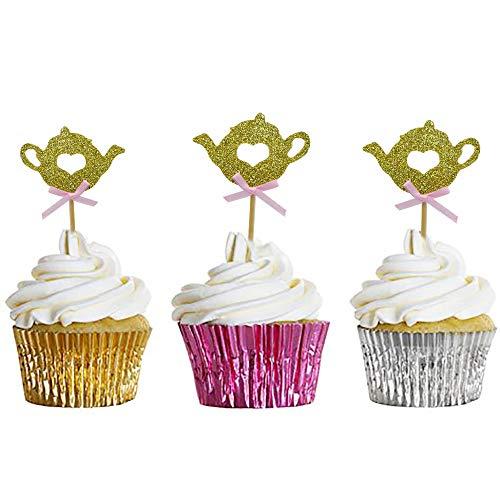 HZOnline Glitter Teapot Cupcake Toppers, Baby Shower Tea Party Food Cake Picks for Kids Birthday (24PCS Golden)