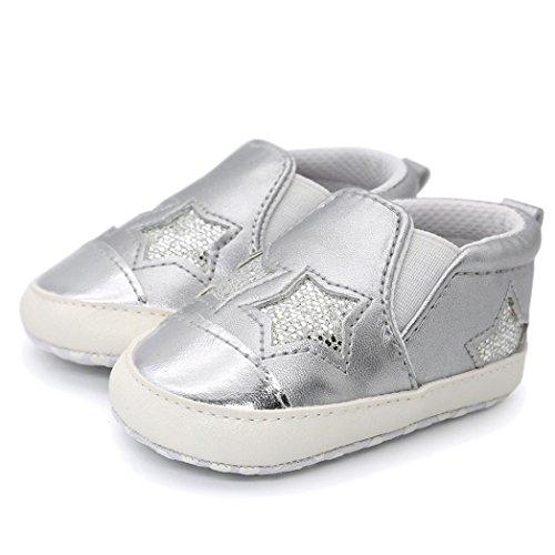 Omiky® Baby Girl Boys herzförmige Stickerei Hight Cut Schuhe Sneaker Anti-Rutsch Soft Sole Kleinkind Silber