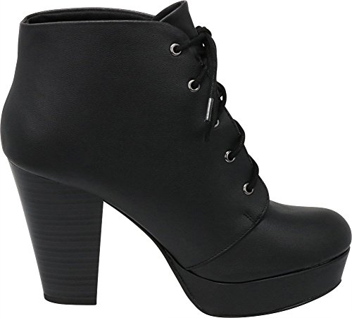Lace Women's Bootie up Pu Chunky Black Stacked Platform Ankle Heel Select Cambridge wHOBEE