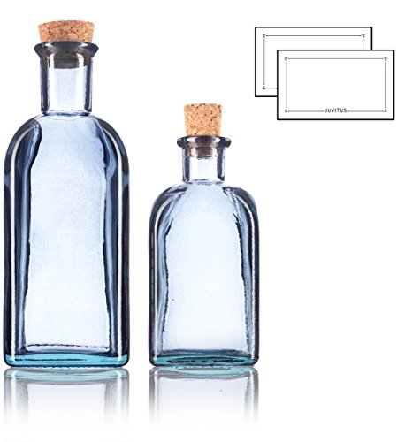 Slate Gray Spanish Thick Recycled Glass Bottle with Natural Cork Top Set - 2 Pack - 8 oz and 17 oz