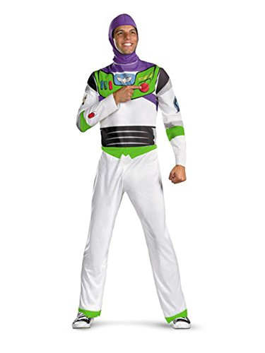 Disguise Men's Disney Pixar Toy Story and Beyond Buzz Lightyear Classic Costume, White/Green/Red/Purple, X-Large -
