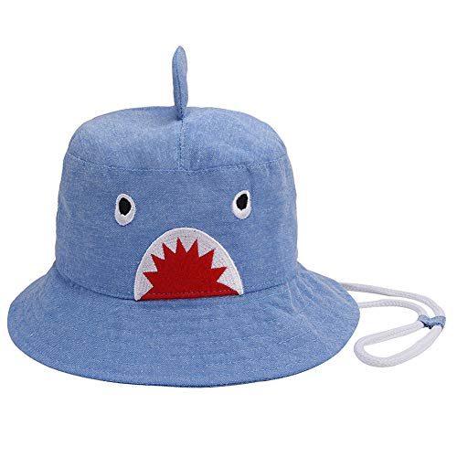 Cute Baby Sun Hat - Toddler Sun Protection Bucket Hat UPF 50+ with Chin Strap (Light Blue Shark, 48cm)