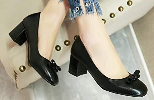 Mofri Womens Fashion Bow Color Block Buckle Strap Round Toe Chunky High Heel Platform Pumps Shoes