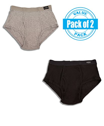 Pack Big Man Classic Brief (2X-Large 46-48, Black/ Grey) (Andrew Chino Pant)