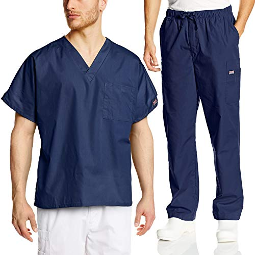 Cherokee Mens Workwear Scrub Set Medical/Dentist Uniform V-Neck Top & Cargo Pant (Navy, Medium)