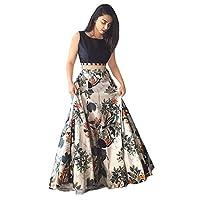 Honestum Women Banglory Silk Party Wear Lehenga Choli(Black Free Size, JP Grey)