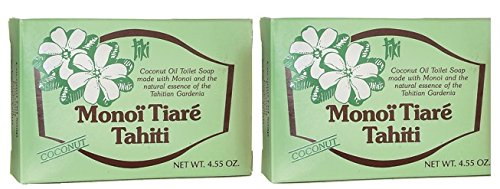 Monoi Tiare Tahiti Coconut Soap Bar (Pack of 2) With Coconut Oil, Natural Essence and Monoi, 4.55 oz
