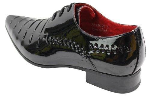 Herrenschuhe Italienisches Design Schwarz Rot Geschnürt Glänzend Formell Lässig 45