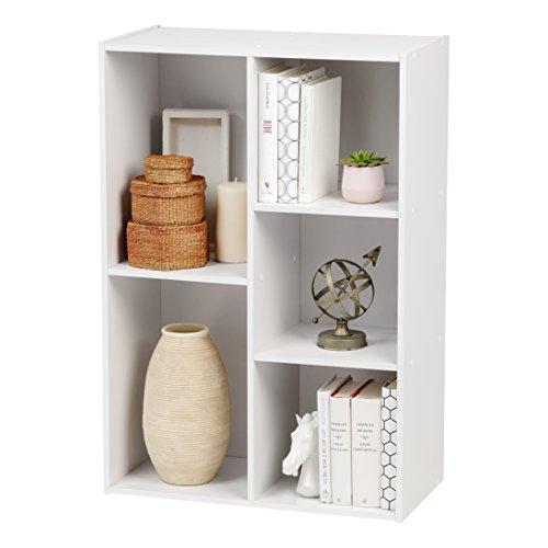 IRIS 5-Compartment Wood Organizer Bookcase Storage Shelf, White