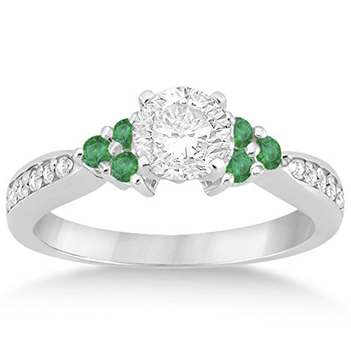 Fancy Bridal Band Floral Emerald and Diamond Engagement Ring Unique Palladium GH VS (0.28ct) GH VS