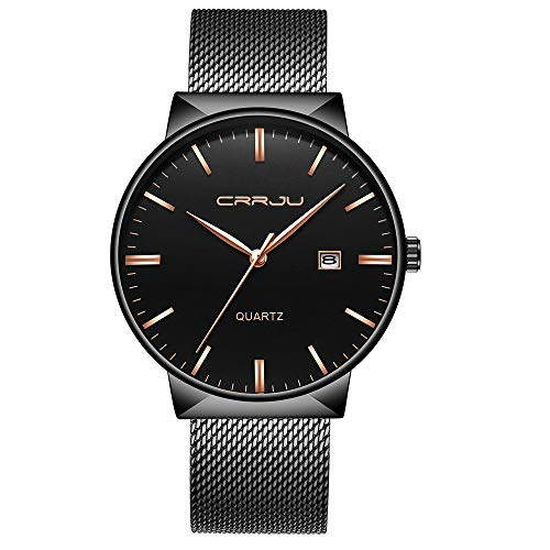 Fashion Men's Quartz Watch with IP Plated Black Mesh Band Stainless Steel Waterproof Wristwatch - Plated Watch Ip