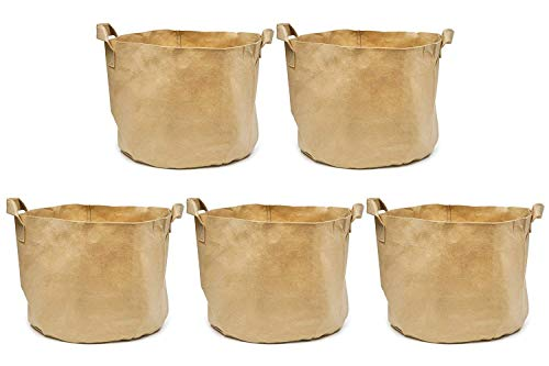 247Garden 3-Gallons Tan Fabric Pots w/Handles & Black Base, 5-Packs Planter Aeration Grow Bags for Plants, Vegetables, Flowers, Potato, Tomato & Fruit Trees
