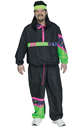 Fun World 80s Male Track Suit Plus Size Costume-