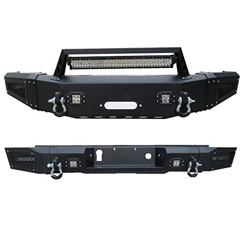 Vijay Front Bumper and Rear Bumper Black Texture with 9 LED Light & Winch Plate & 4 D-Ring for 2015-2017 Chevrolet or Chevy Silverado 2500HD/3500HD