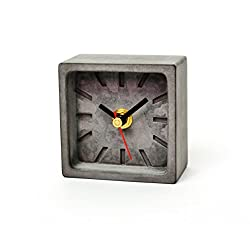 Sliver Stone Concrete Clock. Eco-friendly & Recyclable. Standard Quartz Movement with Absolutely No Ticking Sound. Measuring Frame 3 height and width, 1.5 in thickness. No front cover.