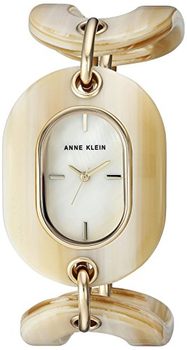 - Anne Klein Women's AK/2674HNGB Gold-Tone and Horn Open Link Bracelet Watch