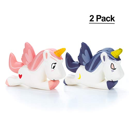Unicorn Squishy Purple Pink 2Pack -Our new jumbo slow rising unicorn squishies are the most cute and soft way to relieve stress! Our family set of office stress relief toys will calm you with cuteness