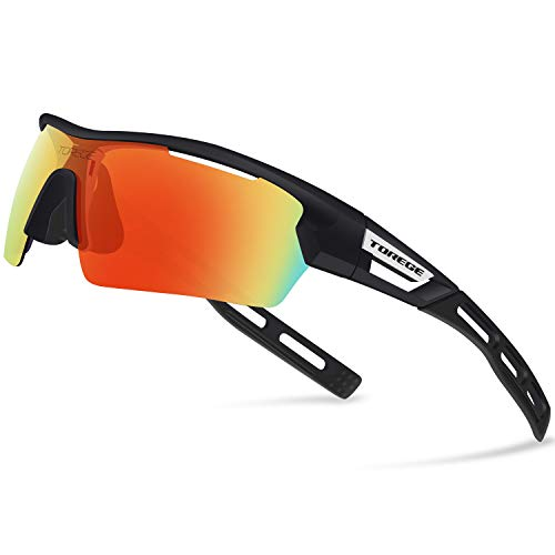 Torege Polarized Sports Sunglasses for Men Women Cycling Running Driving TR033(Black&black tips&Red lens)