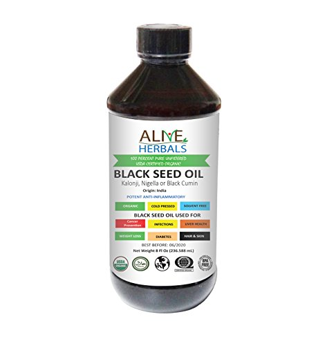 Alive Herbals Black Seed Oil Organic -Nigella Sativa-Cold Pressed - 100% Raw Unfiltered, Vegan & Non-GMO, No Preservatives & Artificial Color. BPA Free Food Grade Plastic Bottle 8 OZ.