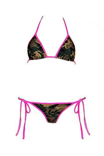 Army Camo Pink String Bikini Top and Bottom Swimwear in Camouflage For Her (Medium) ()