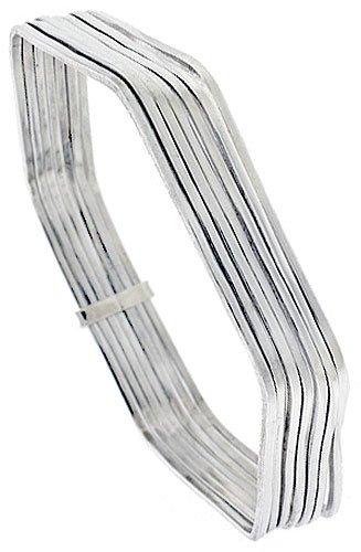 Amazon Com Sterling Silver 7 Day Bangle Bracelet Hexagon Shape