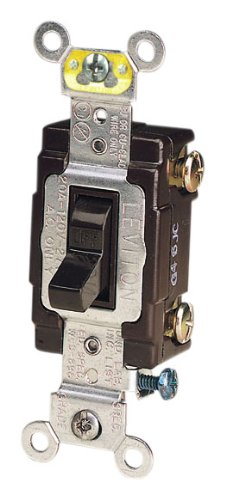 Leviton CS120-2 20-Amp, 120/277-Volt, Toggle Single-Pole AC Quiet Switch, Commercial Grade, Grounding, Brown