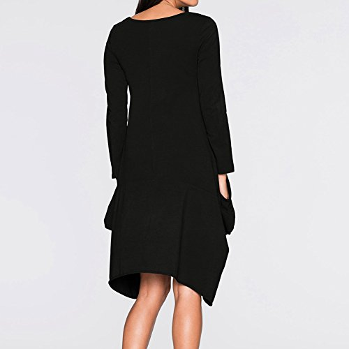 f222950911c98f iBaste Damen Oversized Long Shirt Kleid Elegant Tunika Langarm Baggy Lose T- shirt Tops Bluse ...