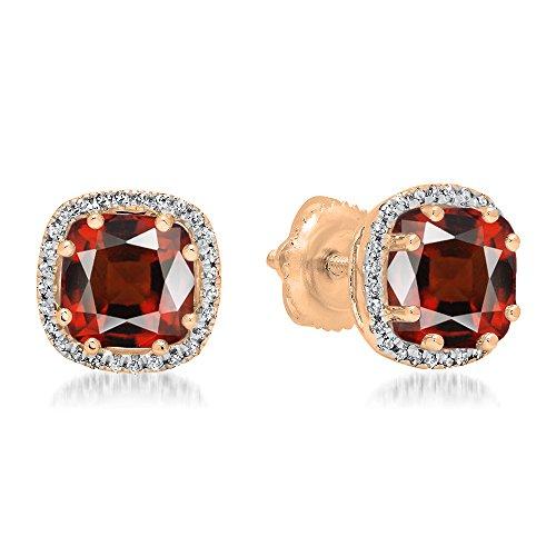 Dazzlingrock Collection 14K 6 MM Cushion Garnet & Round White Diamond Ladies Halo Style Stud Earrings, Rose Gold