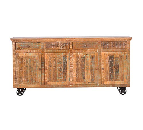 Wood & Style Furniture Reclaimed Storage Console, Hand Painted Solid Mango Finish Home Office Commerial Heavy Duty Strong Décor