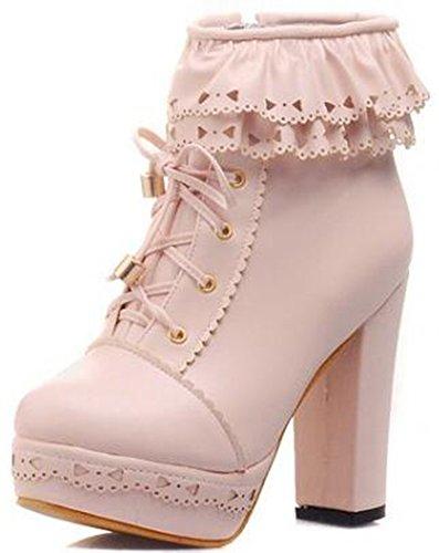 Women's Round Toe Platform High Heels Fashion Ankle Boots Pink - 6